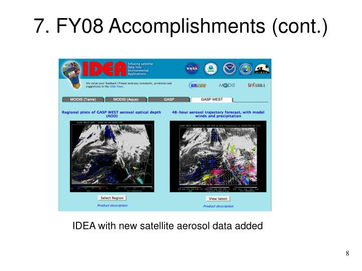 7. FY08 Accomplishments (cont.)