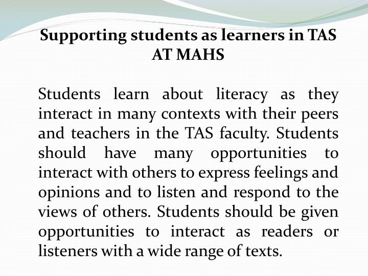 Supporting students as learners in TAS AT MAHS
