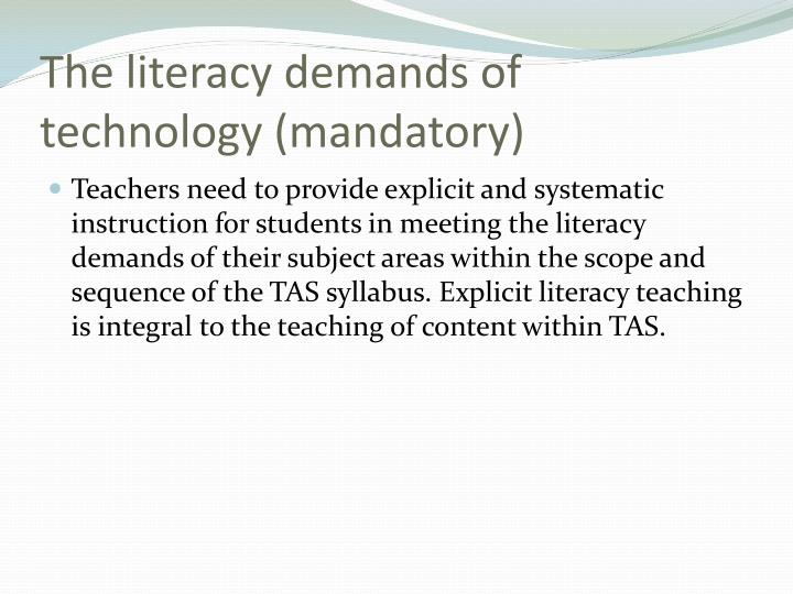 The literacy demands of