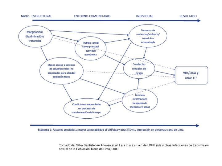 Tomado de: Silva Santisteban Alfonso et al. La s i t u a c i ó n de l VIH/ sida y otras Infecciones de transmisión sexual en la Población Trans de l ima, 2009