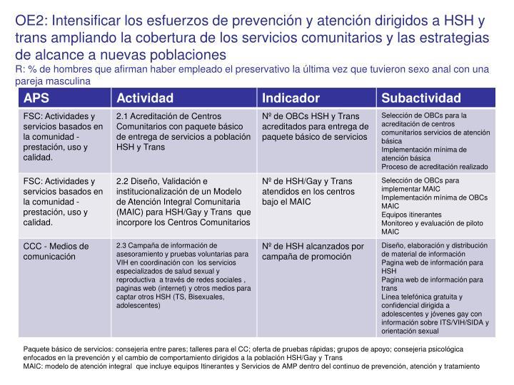 OE2: Intensificar los esfuerzos de prevención y atención dirigidos a HSH y