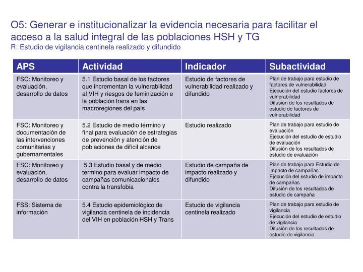 O5: Generar e institucionalizar la evidencia necesaria para facilitar el acceso a la salud integral de las poblaciones HSH y TG