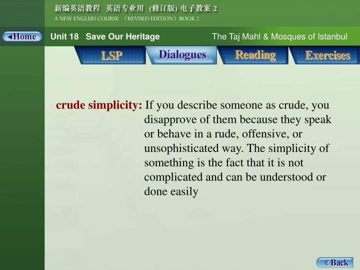 Dialogue_words 1_crude simplicity