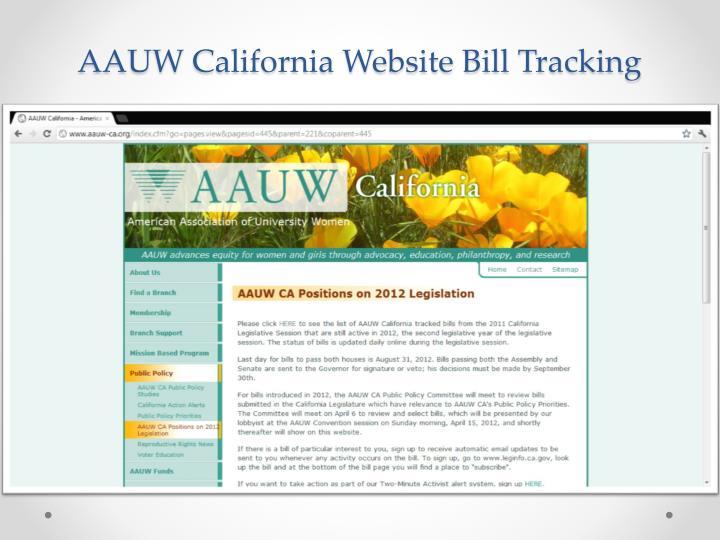 AAUW California Website Bill Tracking