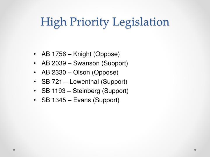 High Priority Legislation