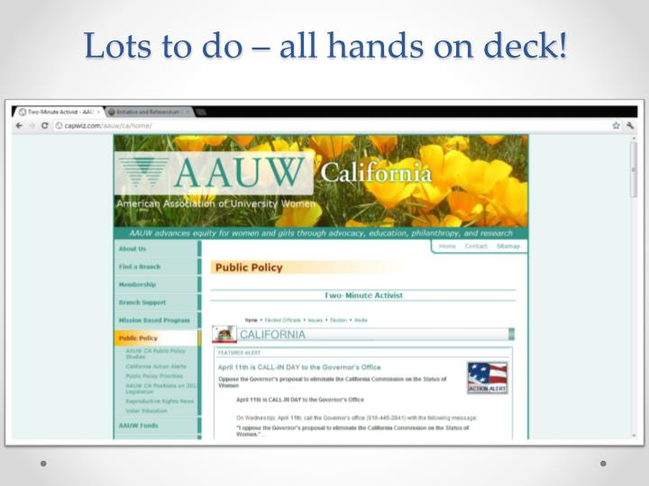Lots to do – all hands on deck!