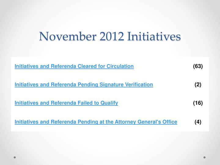 November 2012 Initiatives