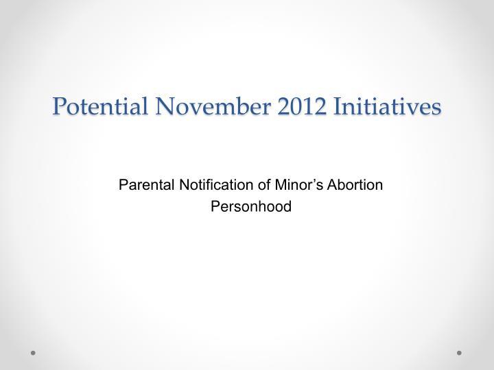 Potential November 2012 Initiatives