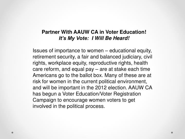 Partner With AAUW CA in Voter Education!
