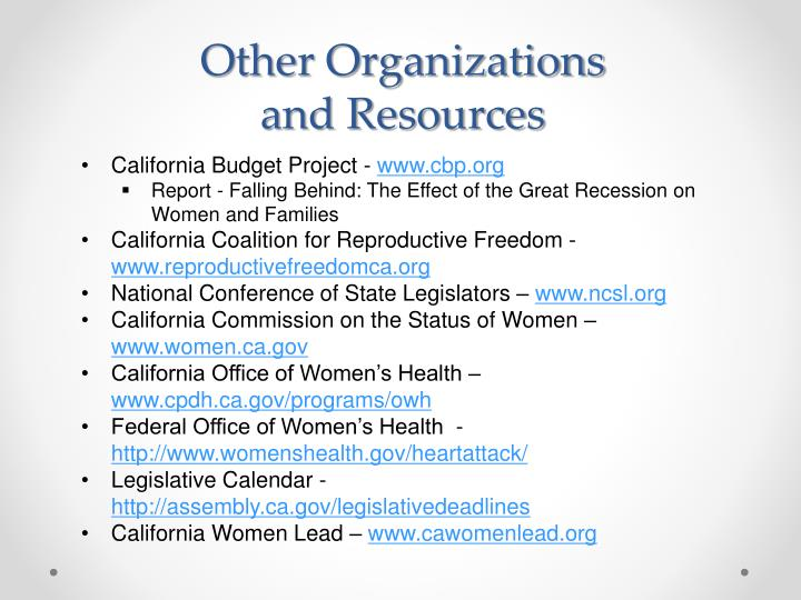 Other Organizations and Resources
