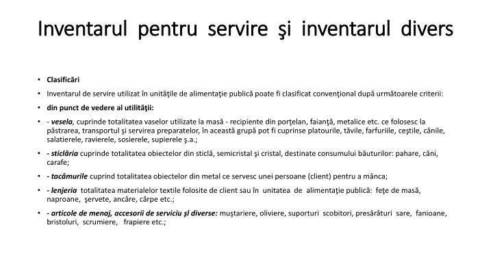 Inventarul  pentru  servire