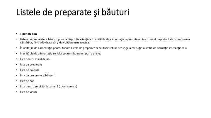 Listele de preparate