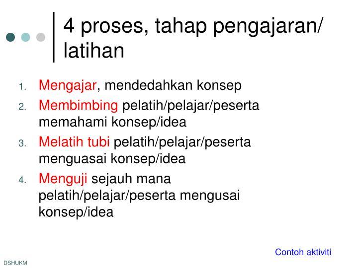 4 proses, tahap pengajaran/ latihan