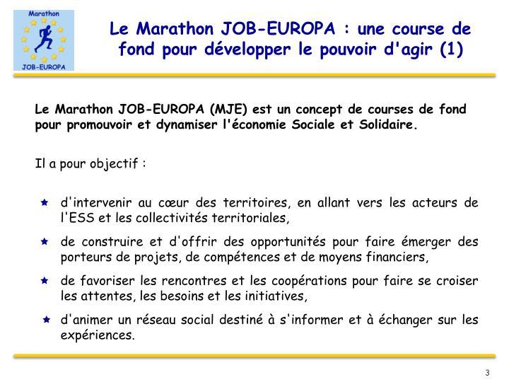 Le Marathon JOB-EUROPA : une course de fond pour développer le pouvoir d'agir (1)