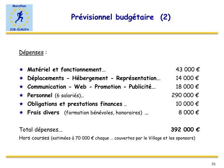 Prévisionnel budgétaire  (2)