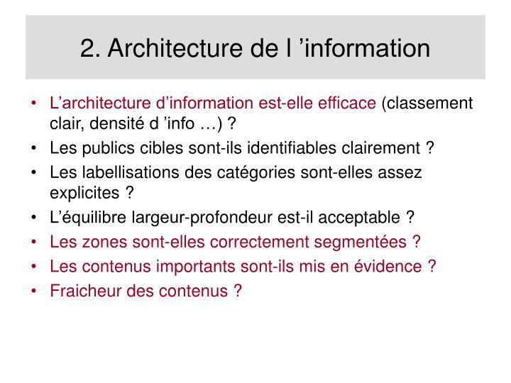 2. Architecture de l'information