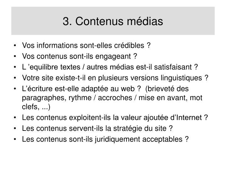 3. Contenus médias