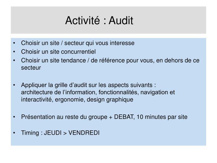 Activité : Audit