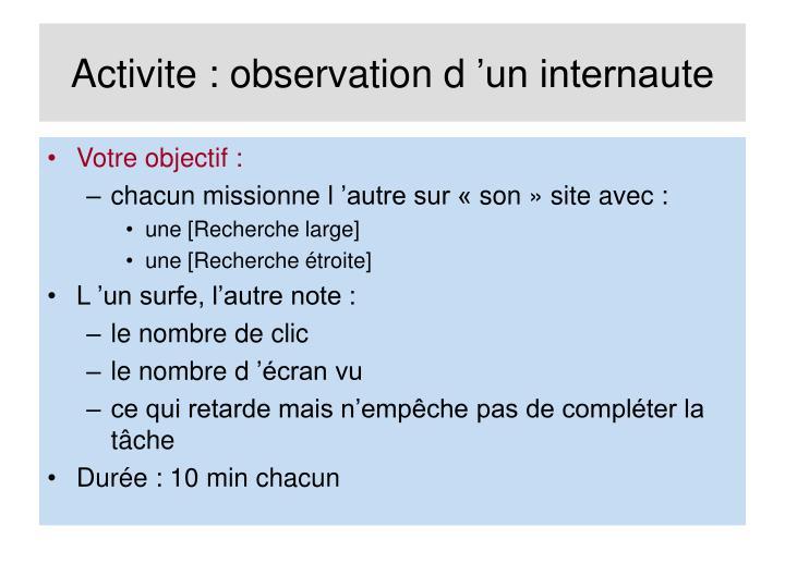 Activite : observation d'un internaute
