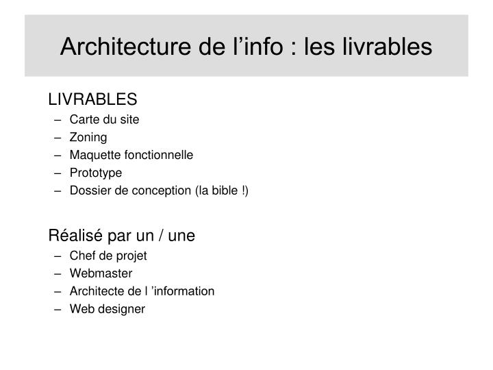 Architecture de l'info : les livrables