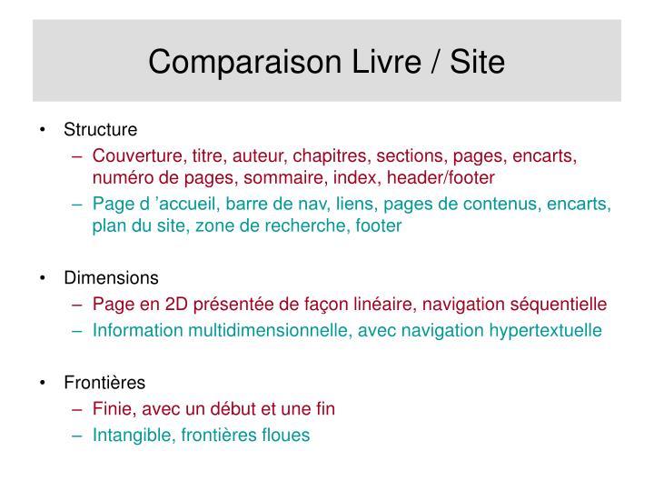 Comparaison Livre / Site