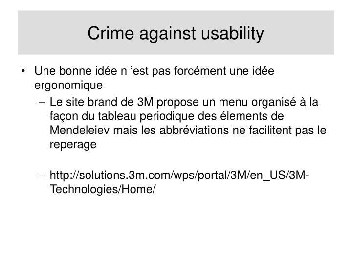 Crime against usability