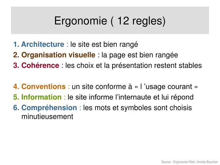Ergonomie ( 12 regles)