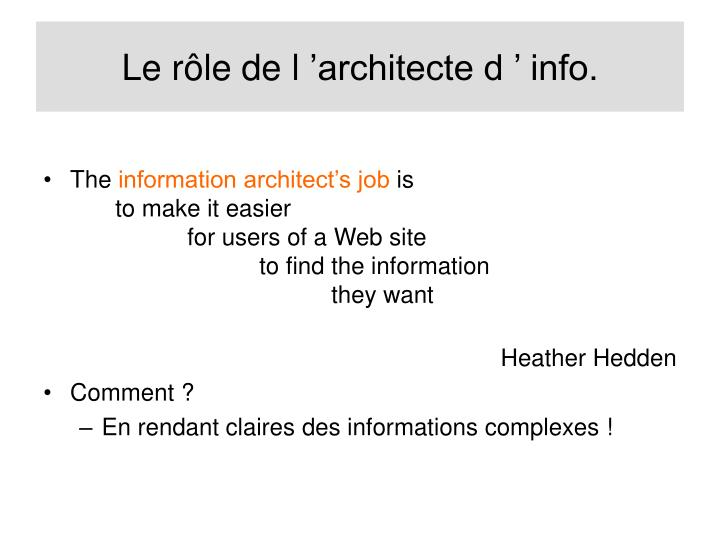 Le rôle de l'architecte d' info.