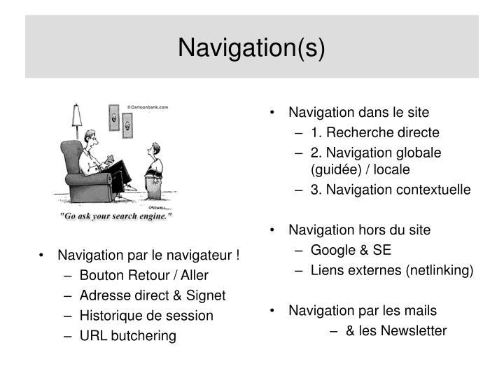 Navigation dans le site