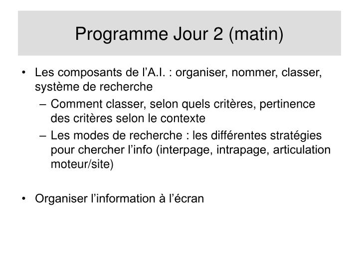 Programme Jour 2 (matin)