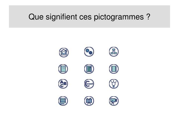 Que signifient ces pictogrammes ?