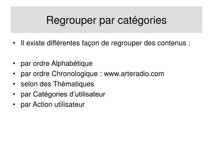 Regrouper par catégories