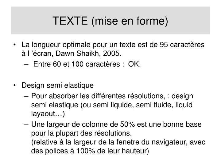 TEXTE (mise en forme)