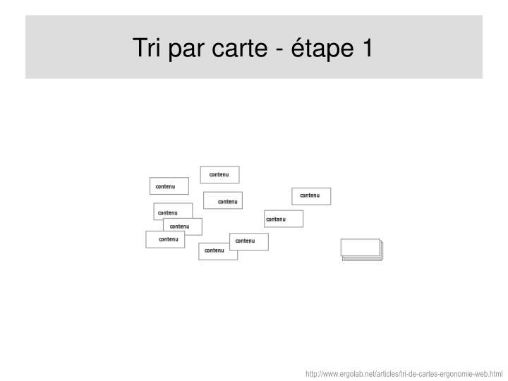 Tri par carte - étape 1