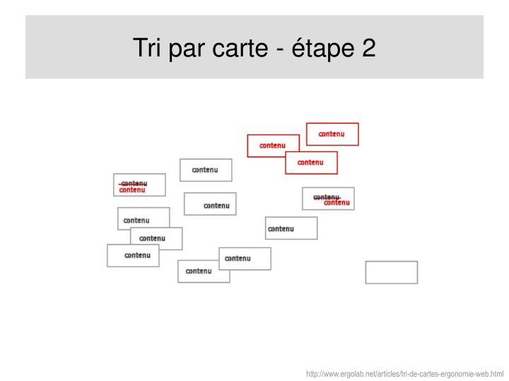Tri par carte - étape 2