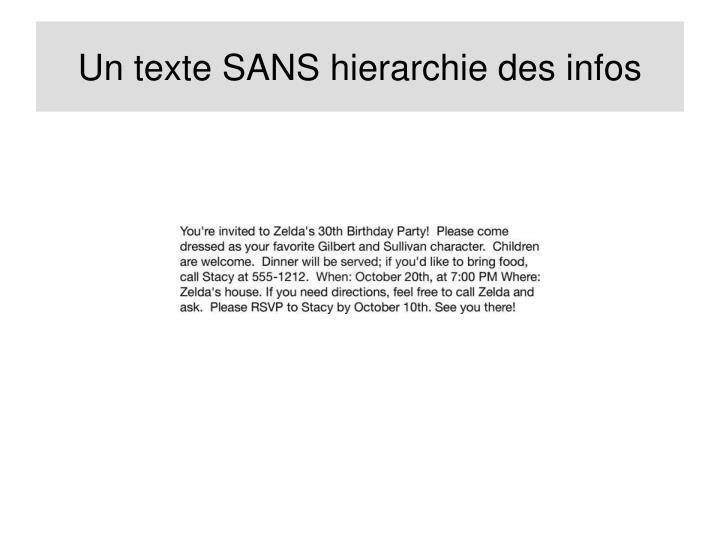 Un texte SANS hierarchie des infos