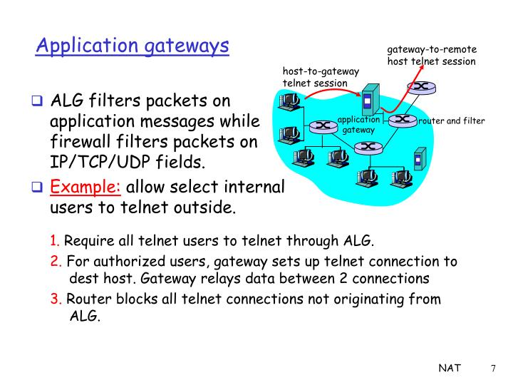 ALG filters packets on application messages while firewall filters packets on IP/TCP/UDP fields.