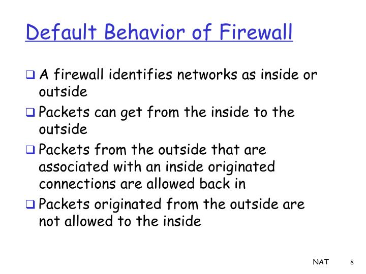 Default Behavior of Firewall