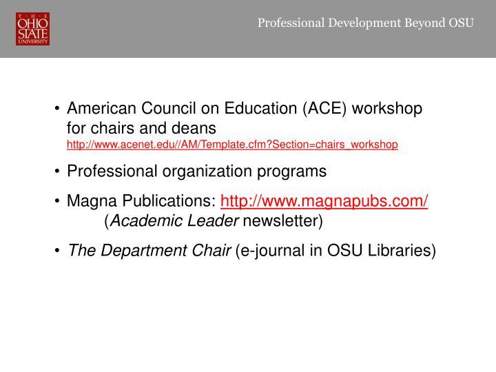 Professional Development Beyond OSU
