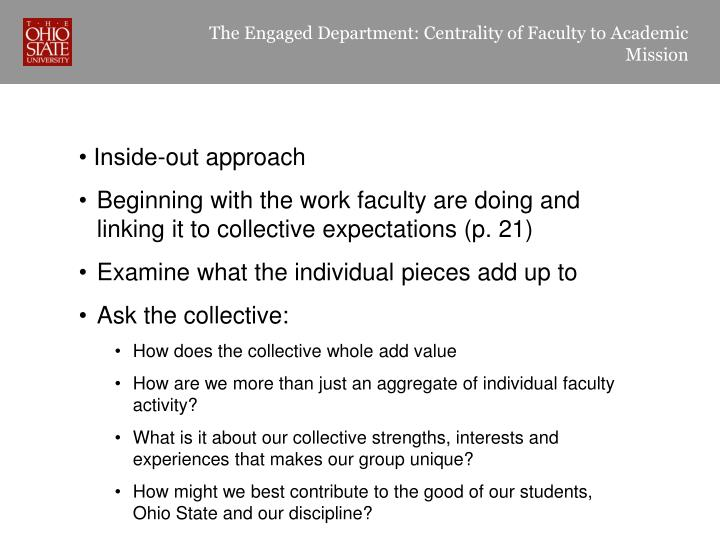 The Engaged Department: Centrality of Faculty to Academic Mission
