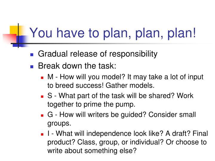 You have to plan, plan, plan!