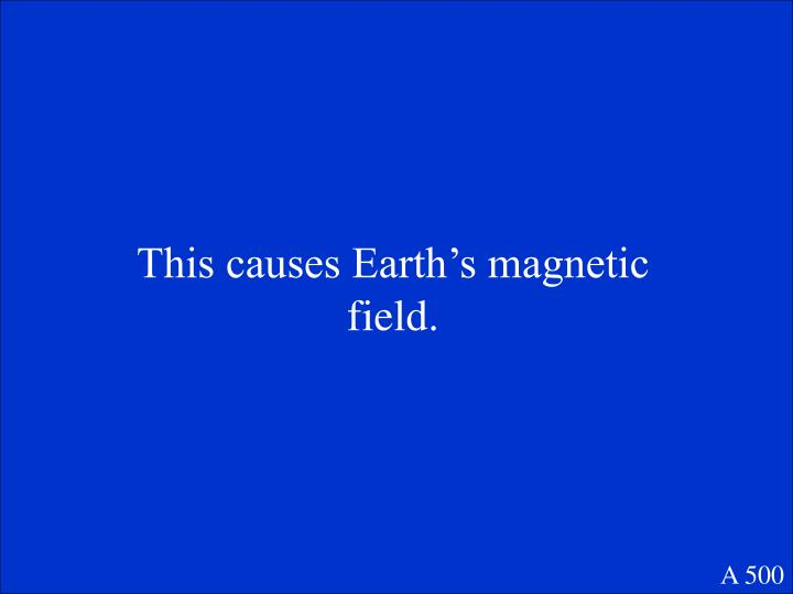 This causes Earth's magnetic field.