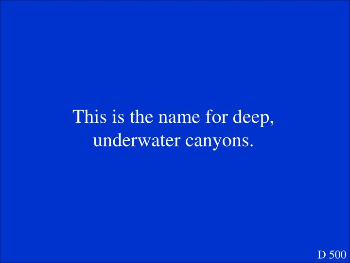 This is the name for deep, underwater canyons.
