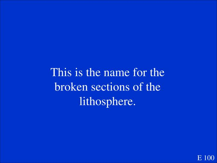 This is the name for the broken sections of the lithosphere.