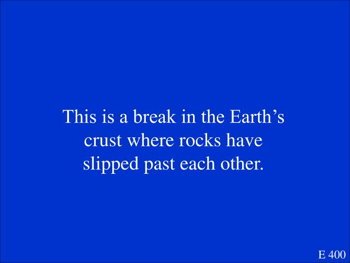 This is a break in the Earth's crust where rocks have slipped past each other.