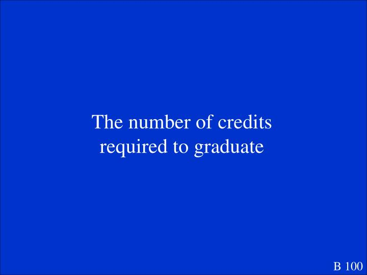 The number of credits required to graduate