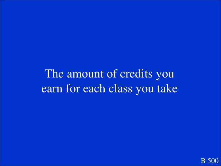 The amount of credits you earn for each class you take