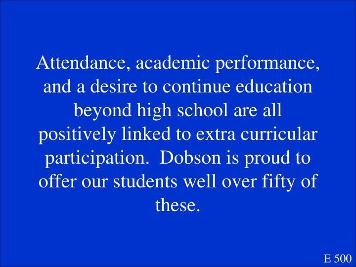 Attendance, academic performance, and a desire to continue education beyond high school are all positively linked to extra curricular participation.  Dobson is proud to offer our students well over fifty of these.
