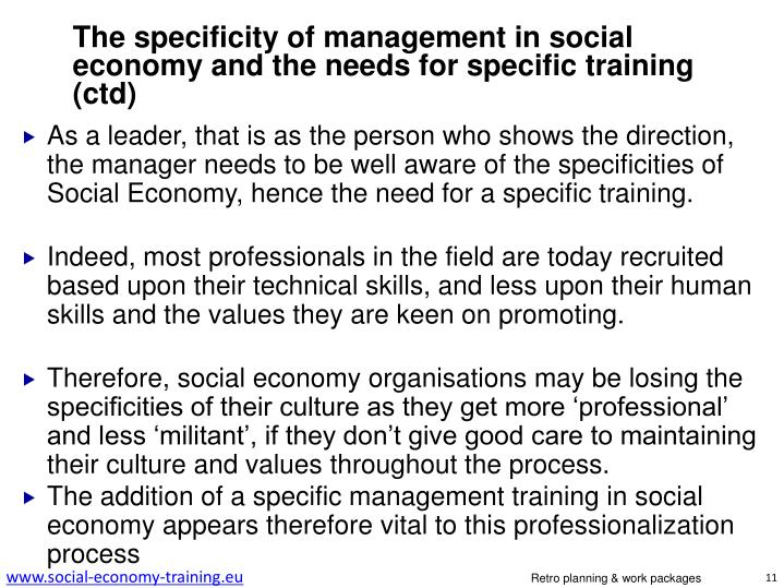 The specificity of management in social economy and the needs for specific training (
