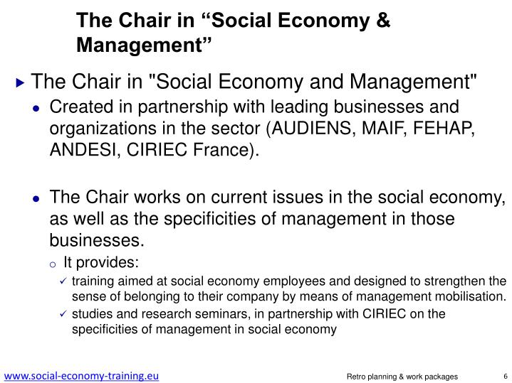 """The Chair in """"Social Economy & Management"""""""